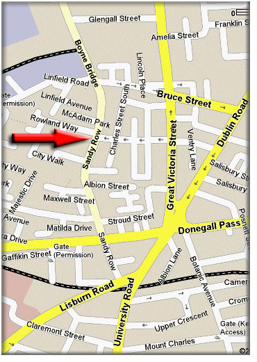 Location Map of Sandy Row Community Centre